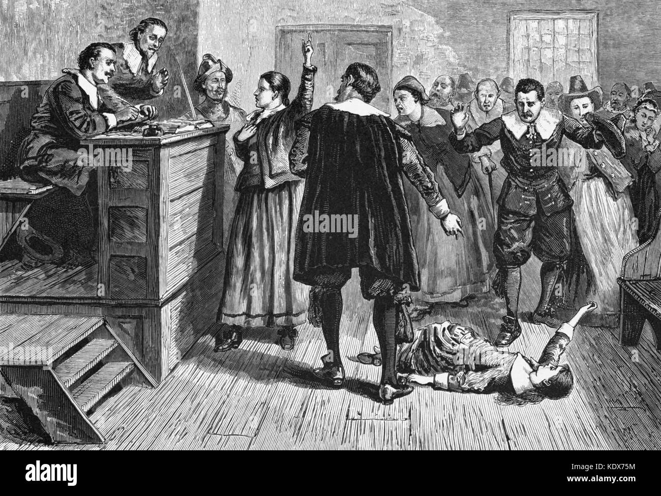Salem Witch Trials, 1692 - 1693, The central figure in this 1876 illustration of the courtroom is generally identified - Stock Image