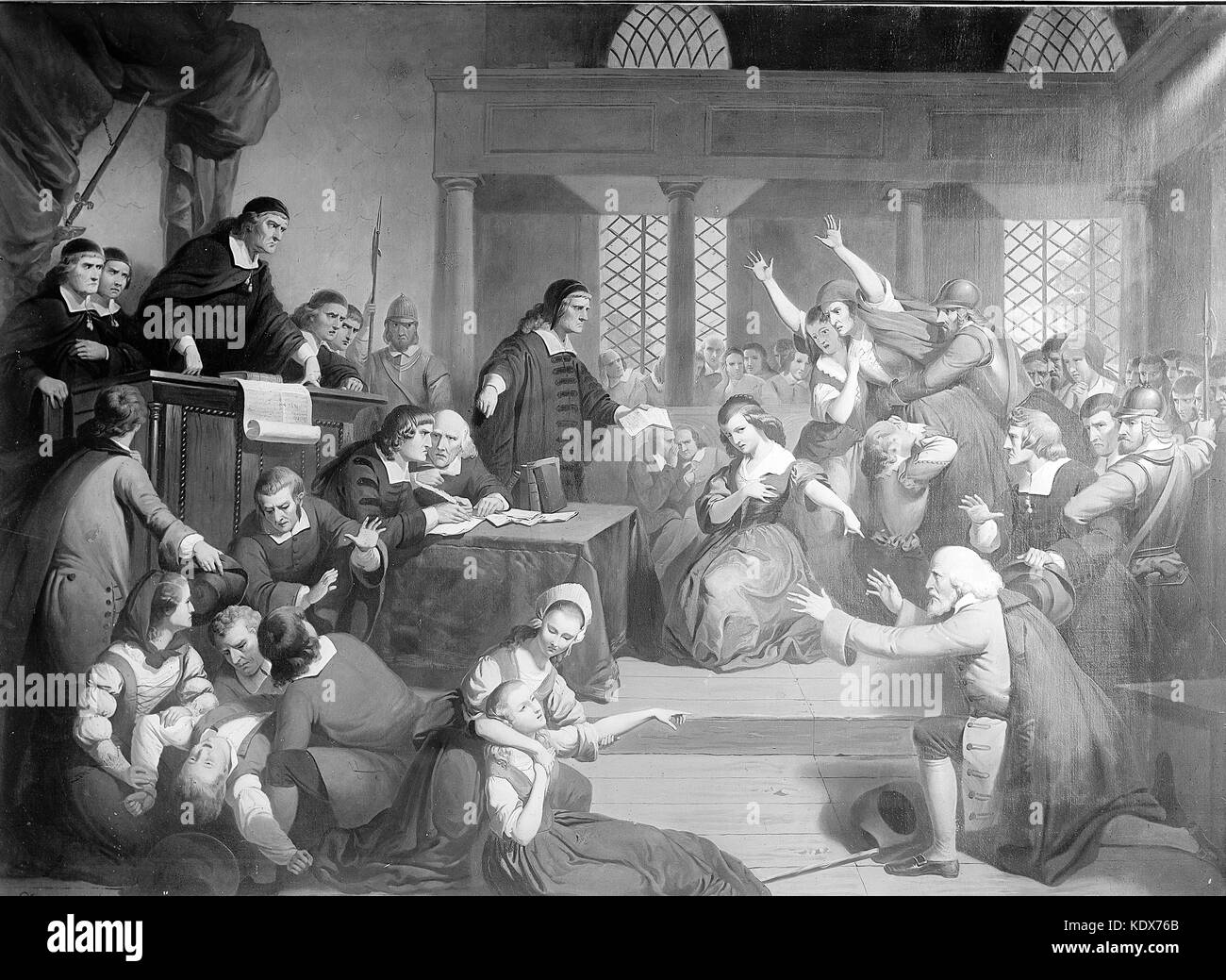 Salem Witch Trials, 1692 - 1693, Trial of George Jacobs of Salem for witchcraft - Stock Image