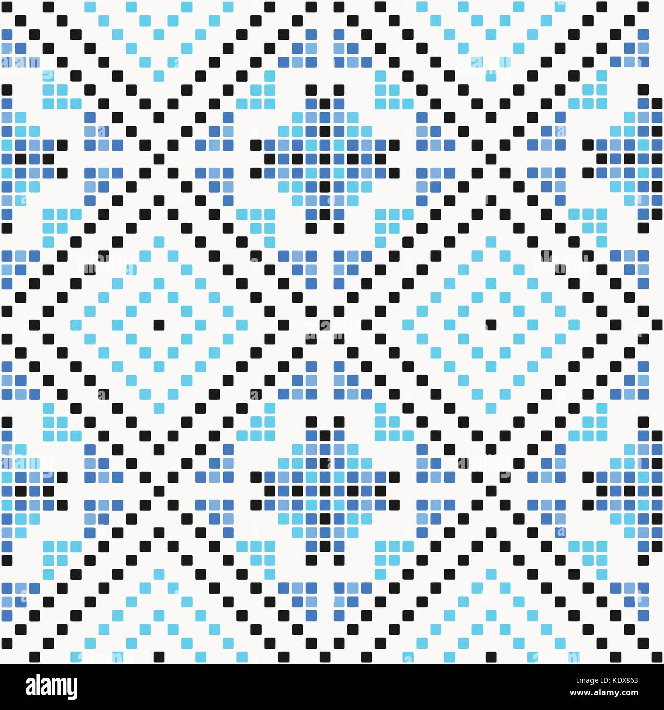 traditional seamless pattern with geometric mosaic ornament. vector retro background. handcrafted winter motif for - Stock Vector