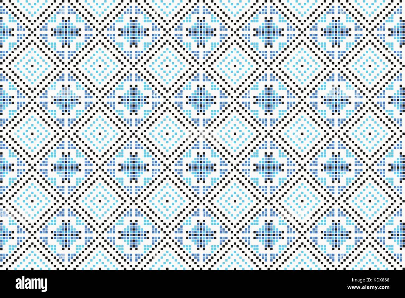 traditional seamless pattern with vintage, geometric ornament. vector decorative background. handcrafted winter - Stock Vector