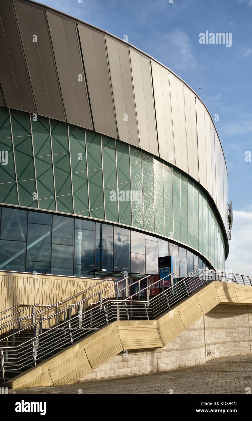 Liverpool, UK. The Echo Arena (2008), a music and sports venue, stands on the River Mersey waterfront on the site - Stock Image