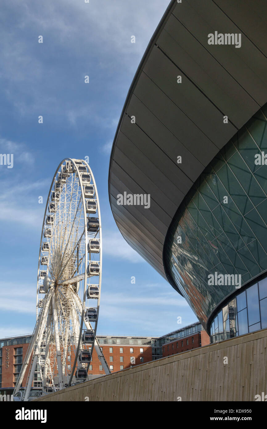 Liverpool, UK. The Wheel of Liverpool and the Echo Arena (2008), on the River Mersey waterfront on the site of the - Stock Image
