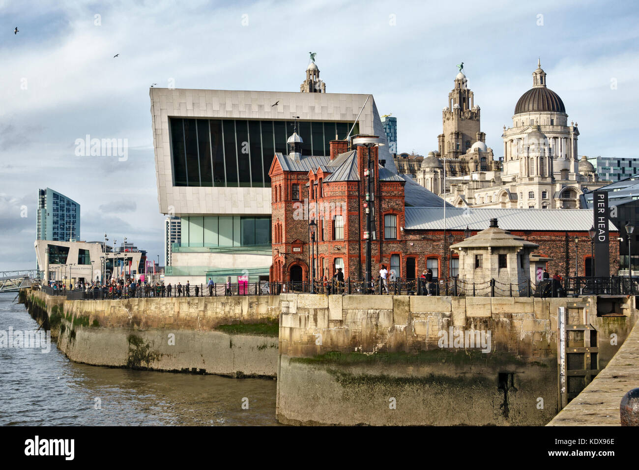 Pier Head, Liverpool. UK. The new Museum of Liverpool, with the Mersey Ferry Terminal and the Port of Liverpool - Stock Image