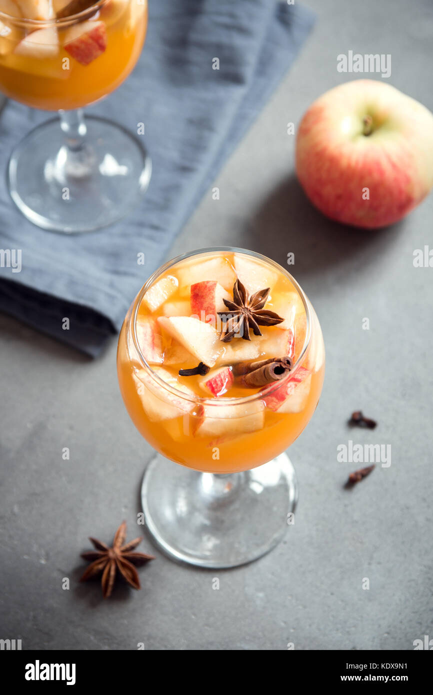 Homemade sangria (apple cider, punch, fruit wine) for autumn and winter holidays - festive Christmas, Thanksgiving Stock Photo
