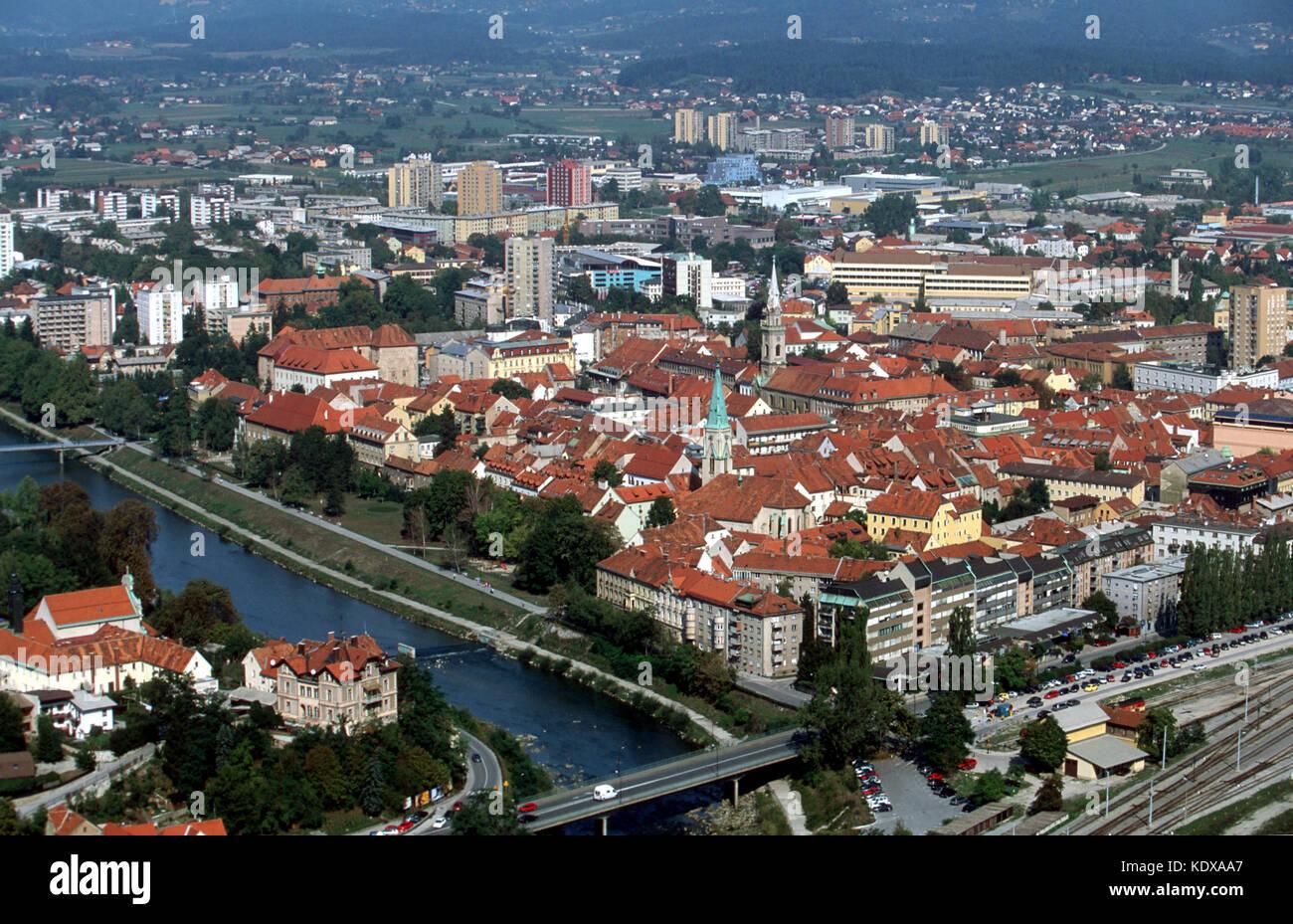 Slowenien, Celje, Blick von der Burg Stari Grad - Stock Image