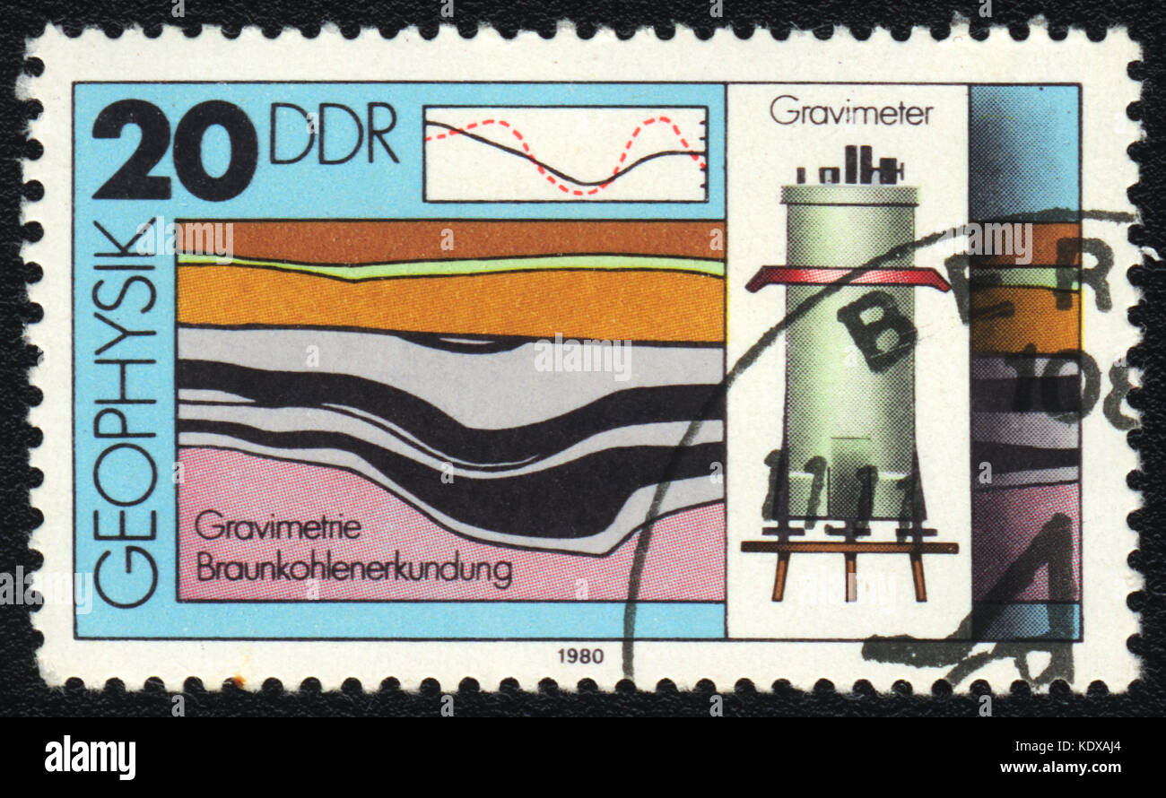 A postage stamp printed in DDR shows Gravimetry, from series Geophysics, circa 1980 - Stock Image