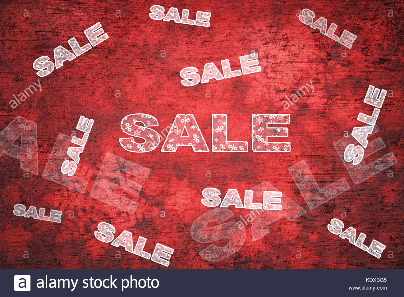 Grunge red color winter season sale background witch optional discounts copy space background and procent signs. - Stock Image