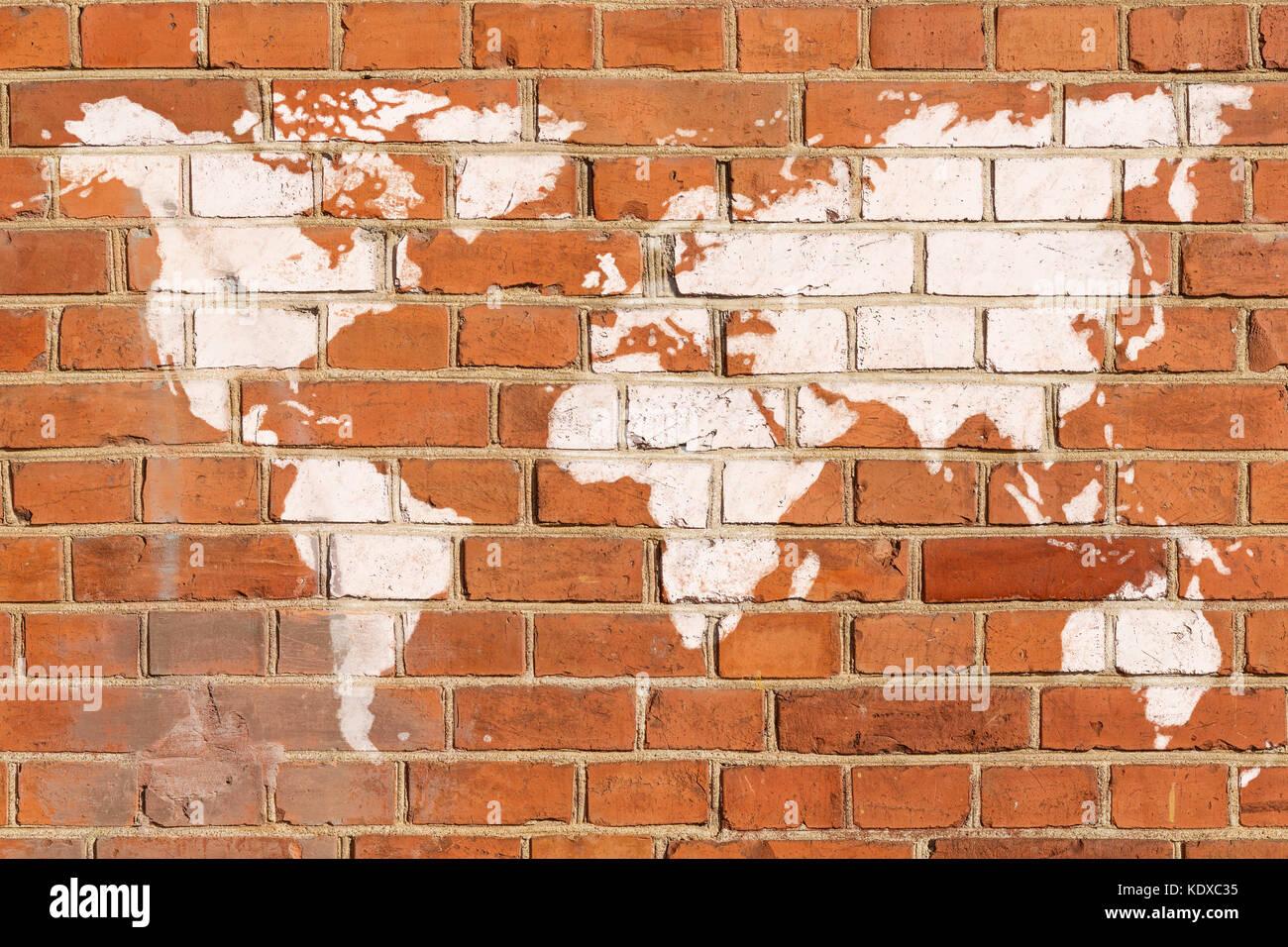 Antique brick wall with world map graffiti stock photo 163464089 antique brick wall with world map graffiti gumiabroncs Choice Image