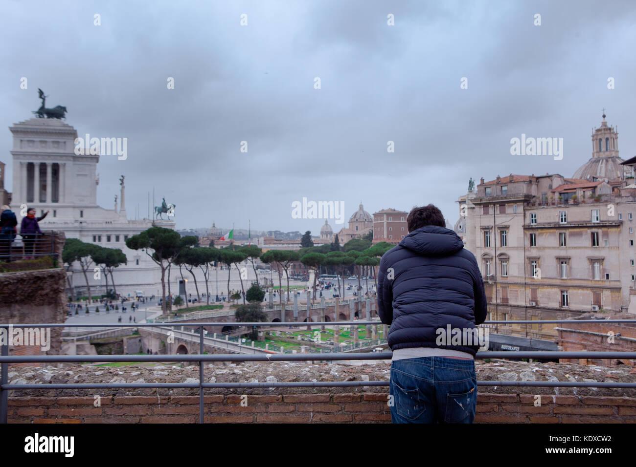 man looking foro romano Rome Italy - Stock Image