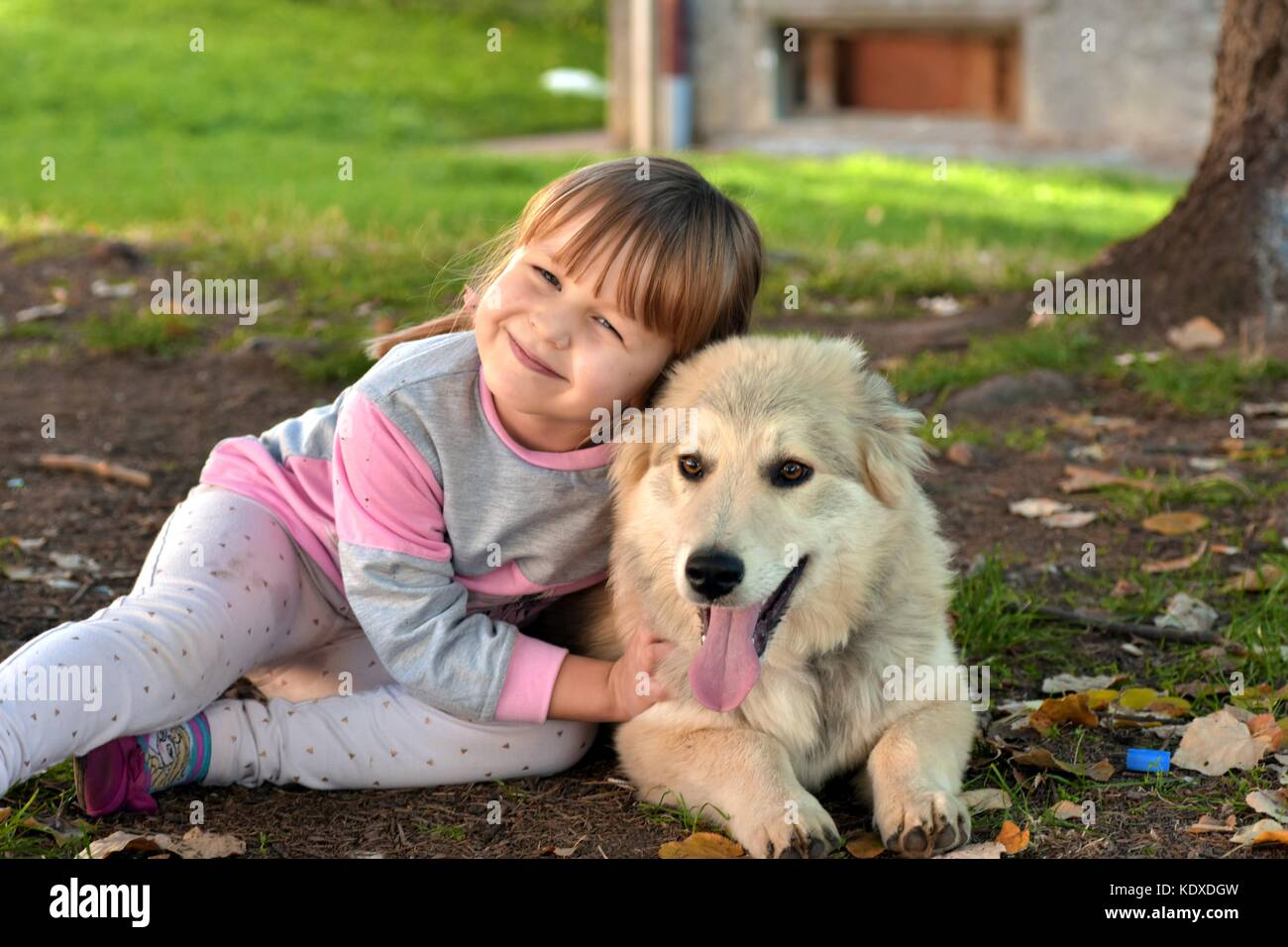 Portrait of a young blond girl child cuddling white puppy outdoors in the park Stock Photo