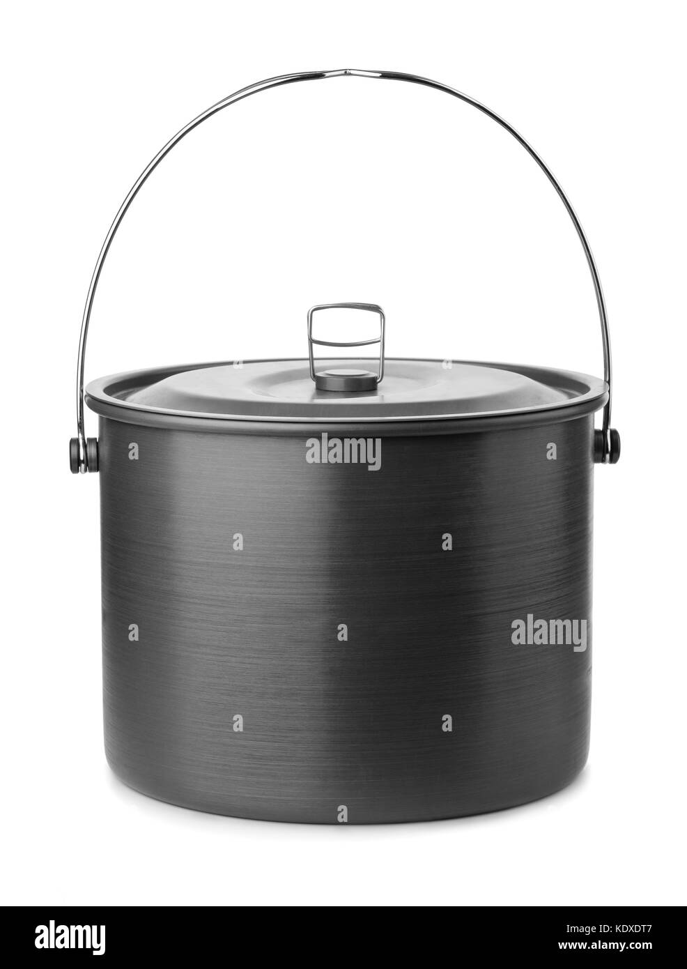 Camping cooking pot isolated on white - Stock Image