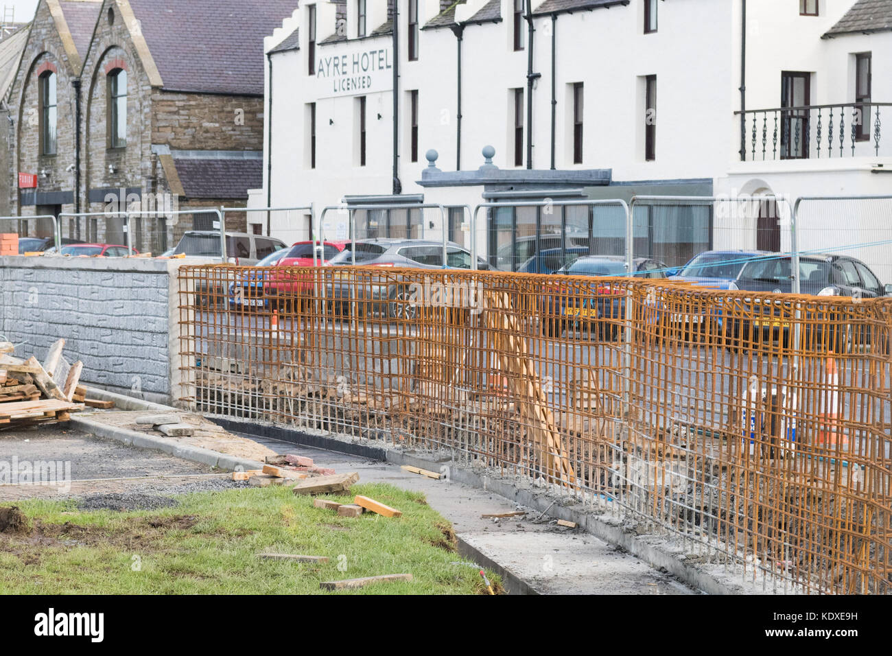 building constructing Kirkwall Harbour reinforced concrete flood wall, Kirkwall, Orkney, Scotland, UK - Stock Image