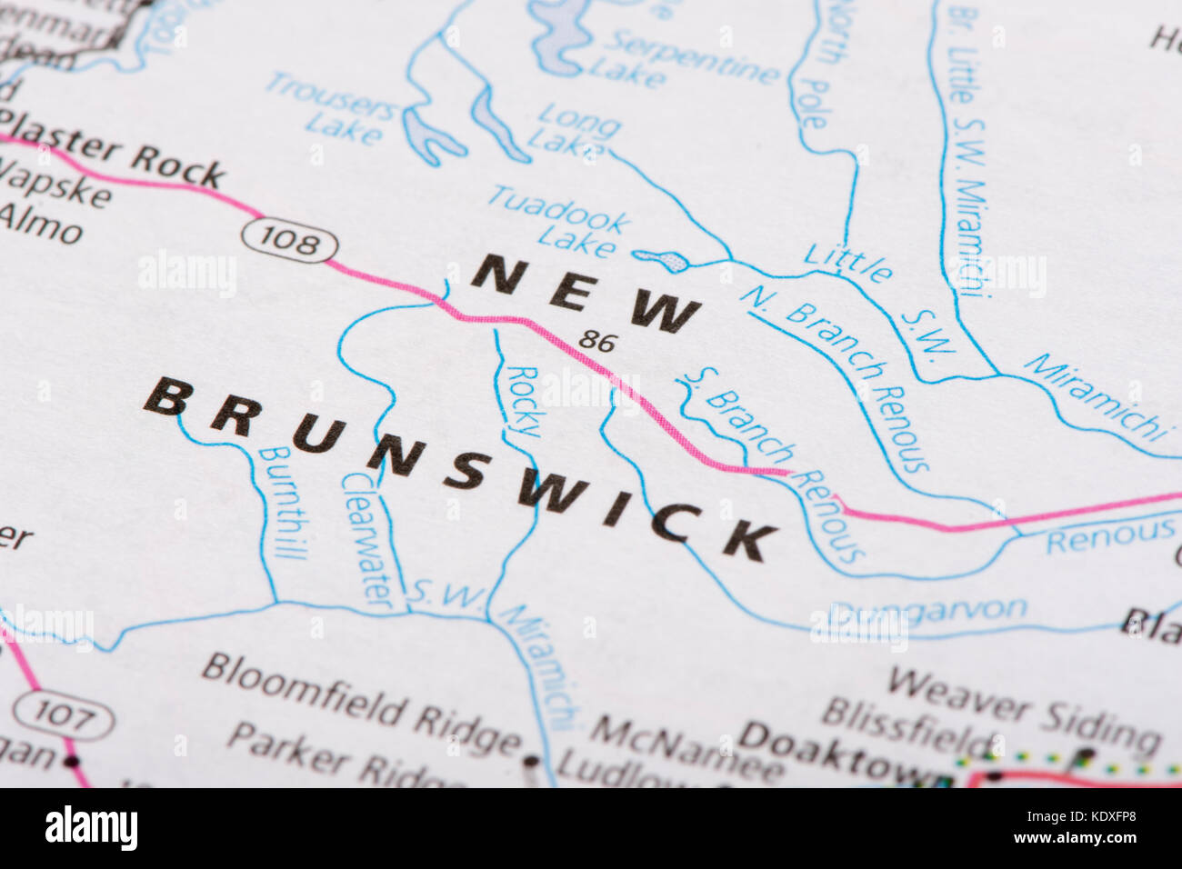 Map Of Canada New Brunswick.Closeup Of New Brunswick On A Political Map Of Canada Stock Photo