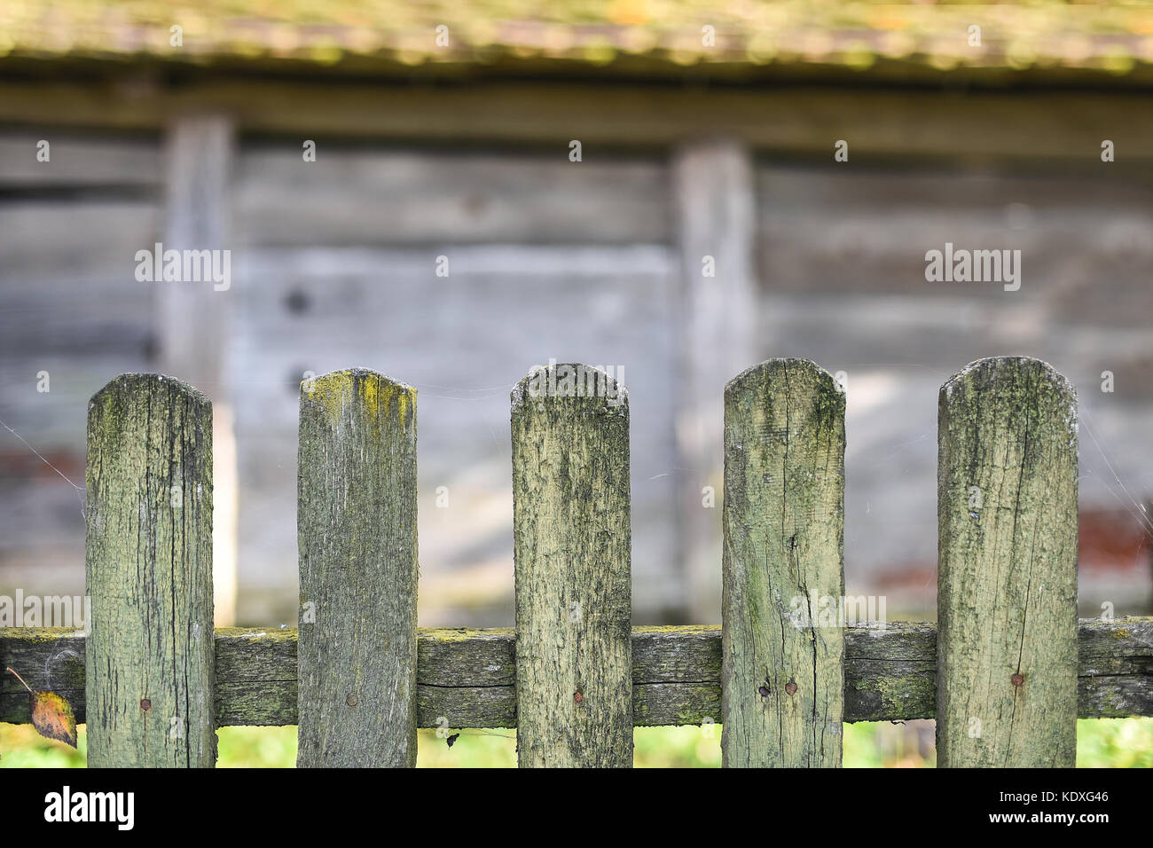 Old wooden fence, wooden wall of barn on background, copy space, life in the village, Western Ukraine - Stock Image