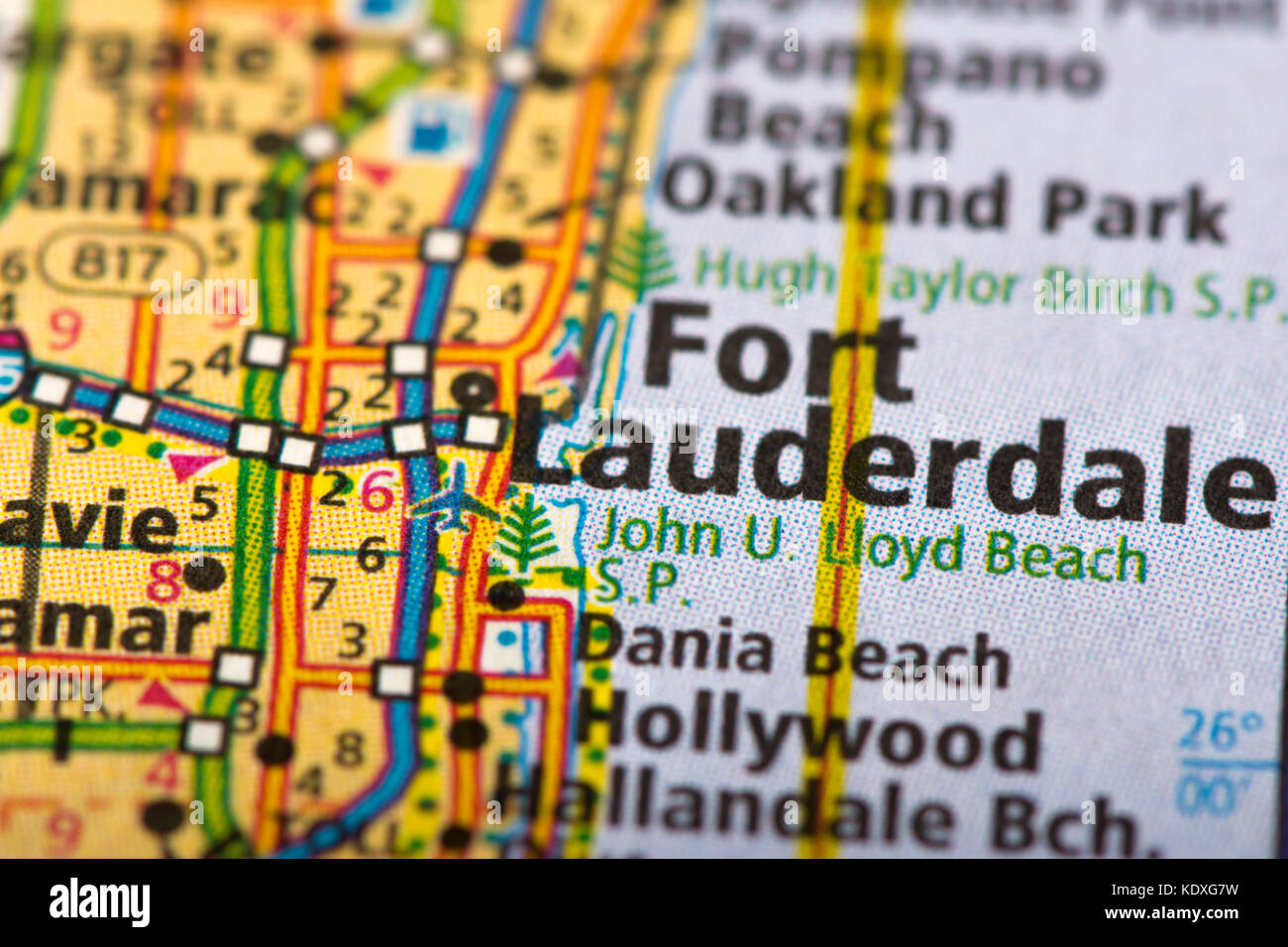 Lauderdale Florida Map.Closeup Of Fort Lauderdale Florida On A Political Map Of The United