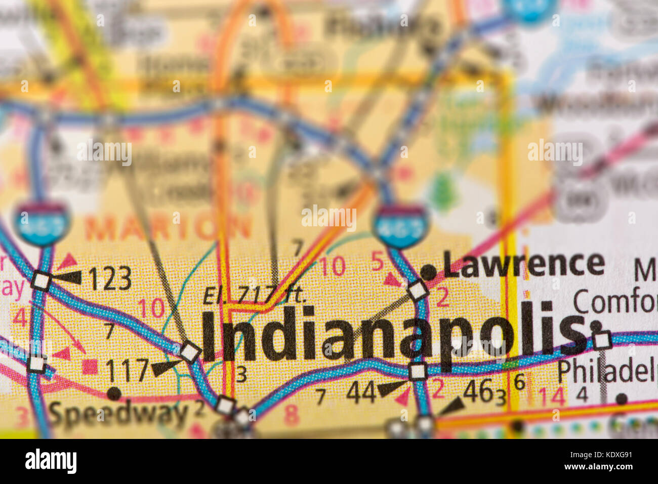 Us Map Indianapolis.Closeup Of Indianapolis Indiana On A Road Map Of The United States
