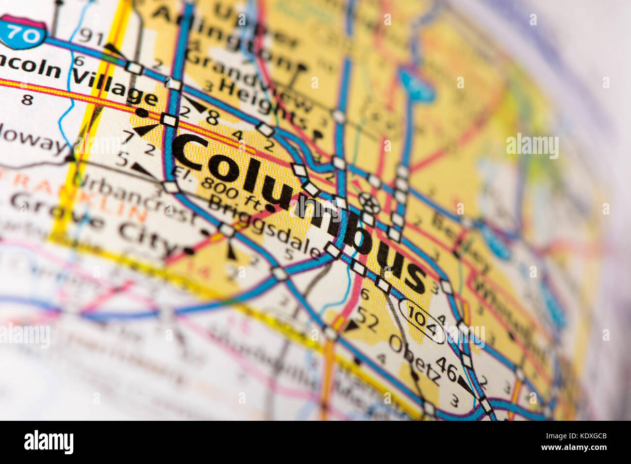 Closeup of Columbus, Ohio on a road map of the United States Stock ...
