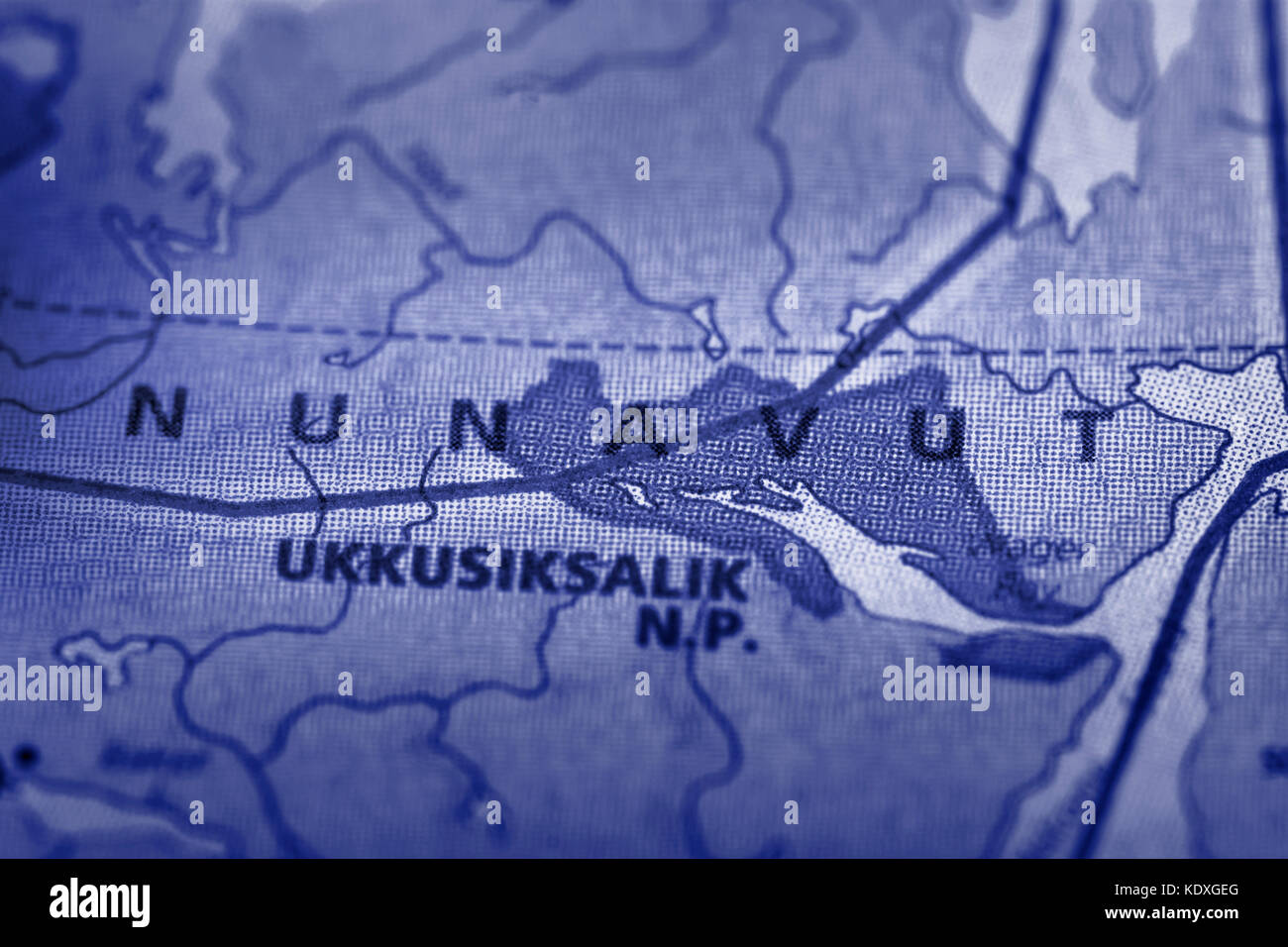 Closeup of the 'Nunavut' territory with a icy blue tone on a political map of Canada. - Stock Image