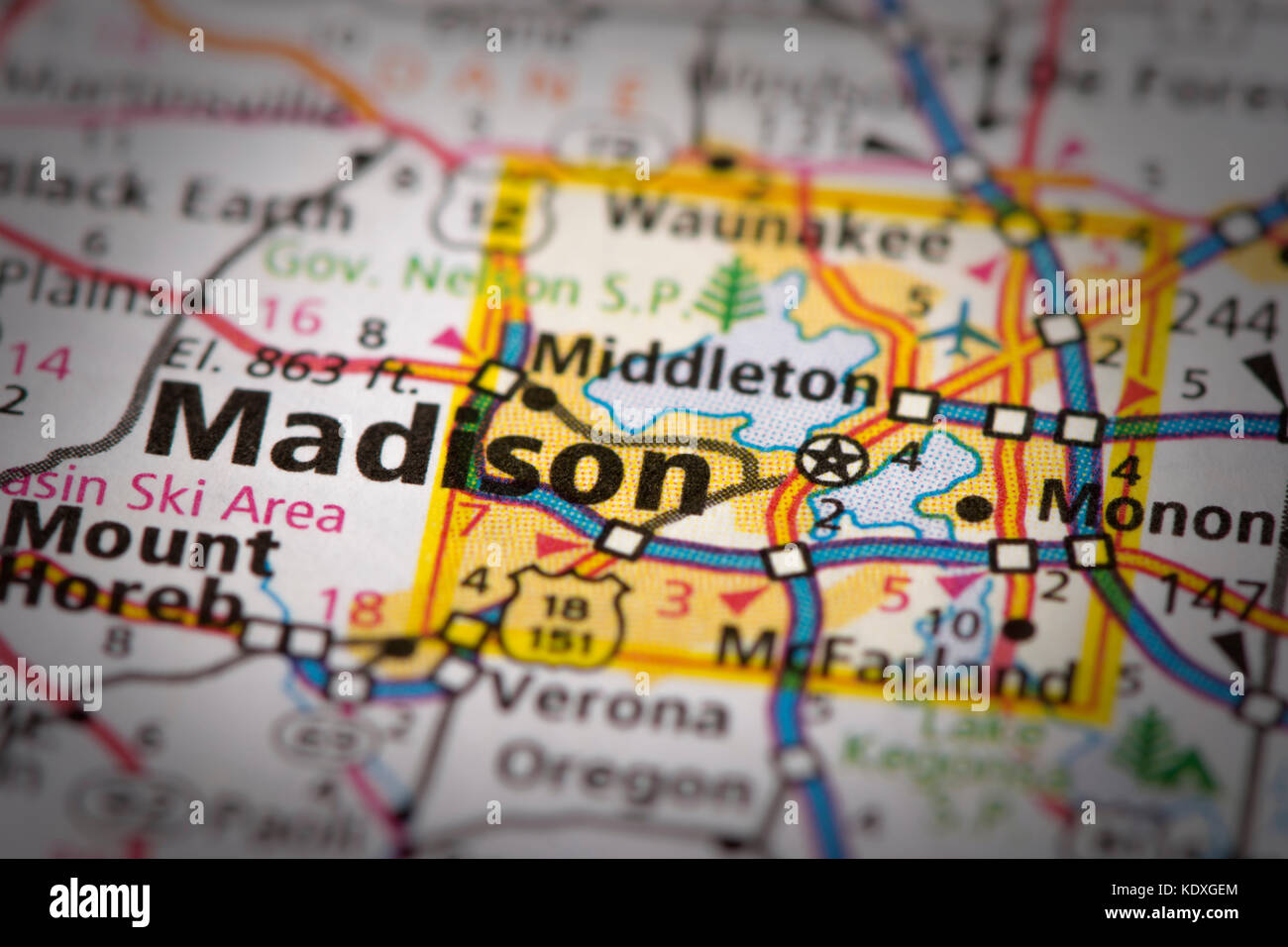 Closeup of Madison, Wisconsin on a road map of the United States ...