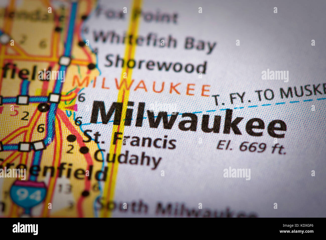 Closeup Of Milwaukee Wisconsin On A Road Map Of The United States