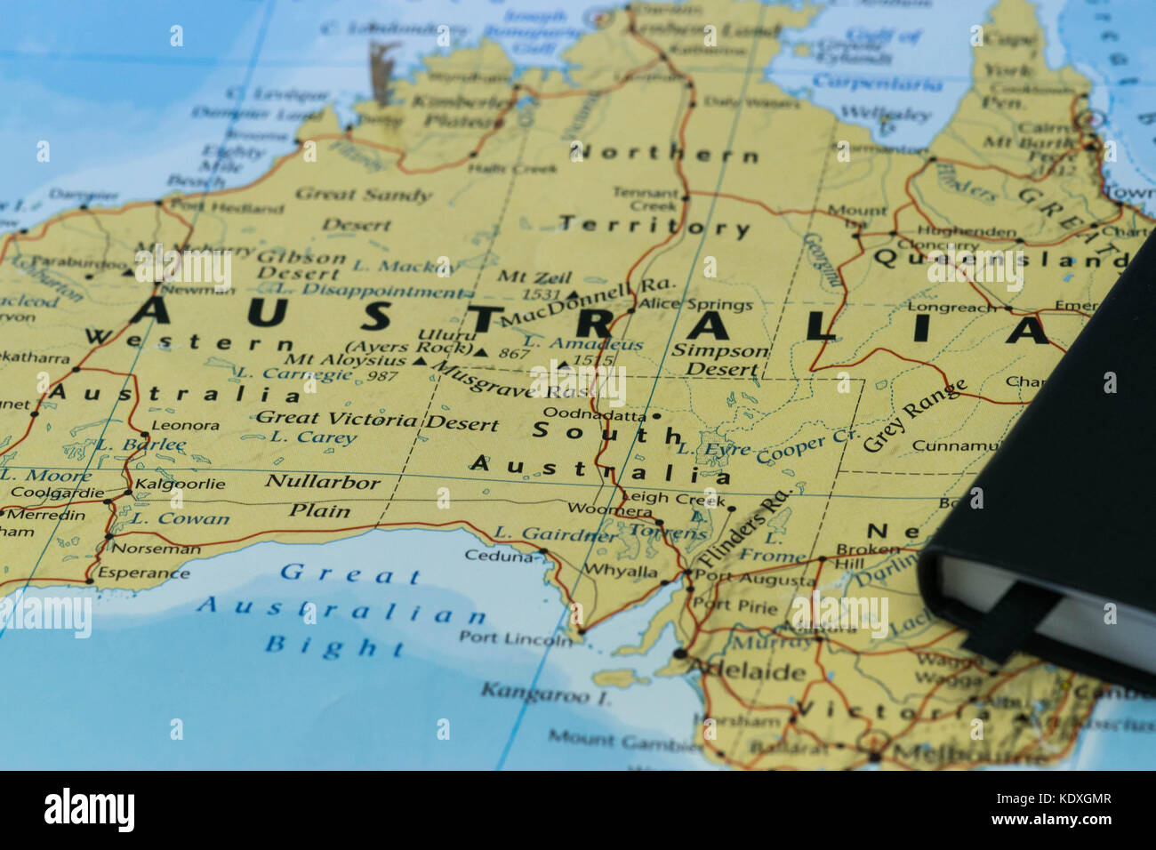Personal notes of a traveller planning to move to Australia - Stock Image