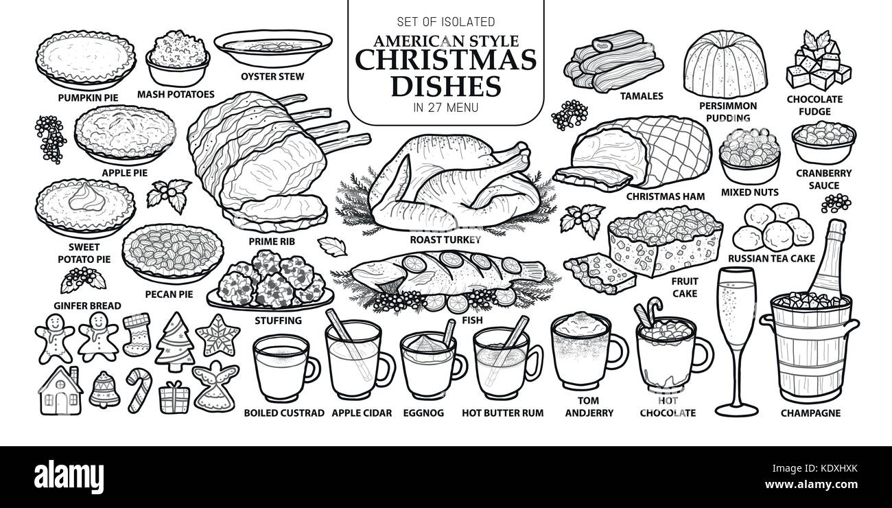 Set of isolated traditional Christmas dishes in 27 menu. Cute hand drawn food vector illustration in dark gray outline - Stock Vector