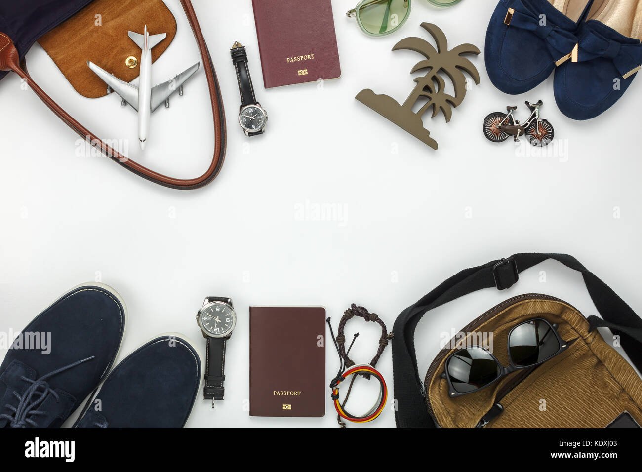 Top View Of Items For Travel With Fashion Men Women Background Stock Photo Alamy