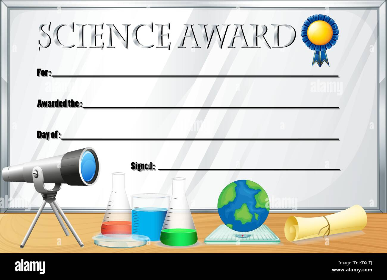 Certificate template for science award illustration stock vector art certificate template for science award illustration yelopaper Choice Image