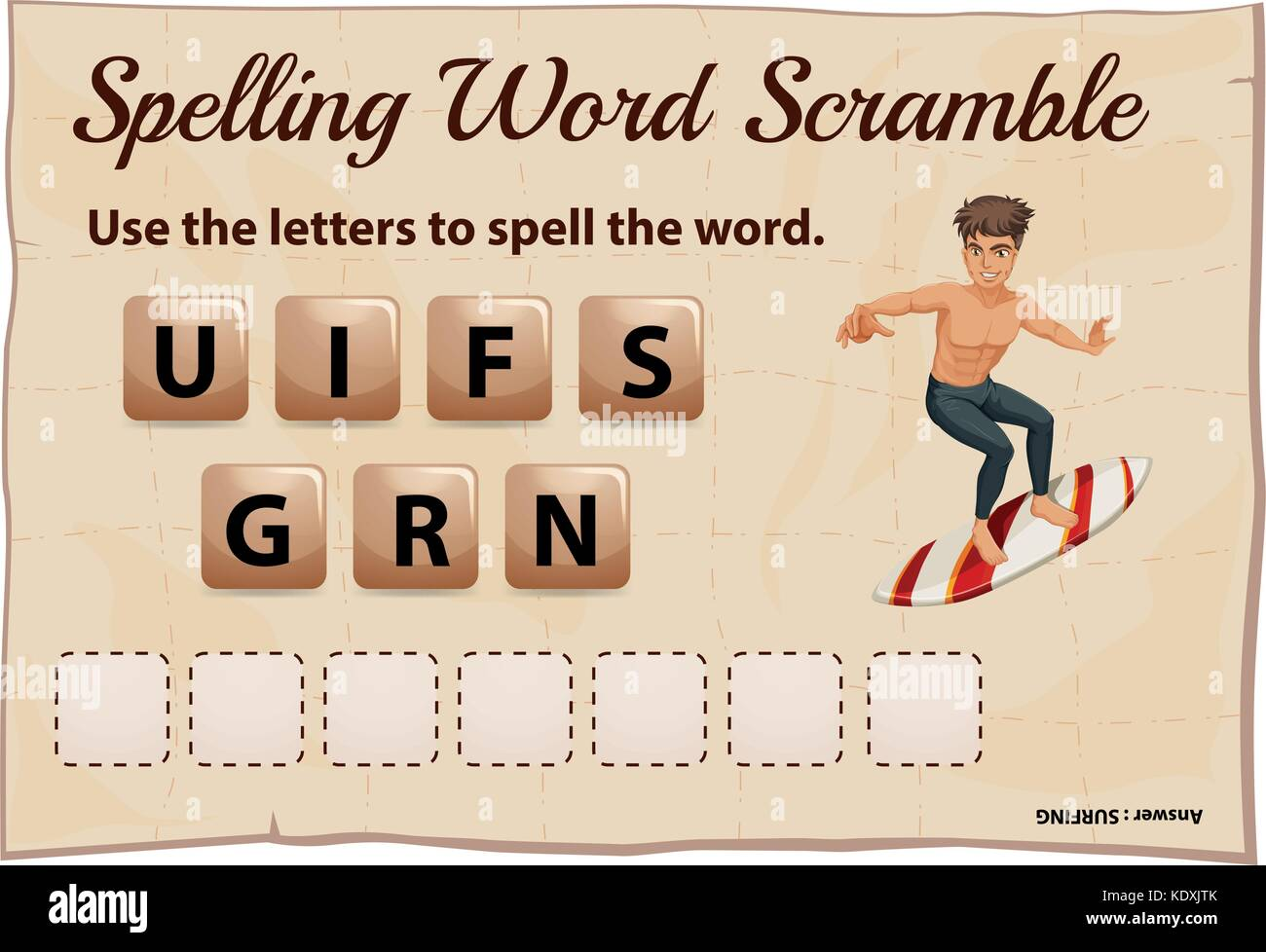 Spelling word scramble for word surfing illustration - Stock Vector