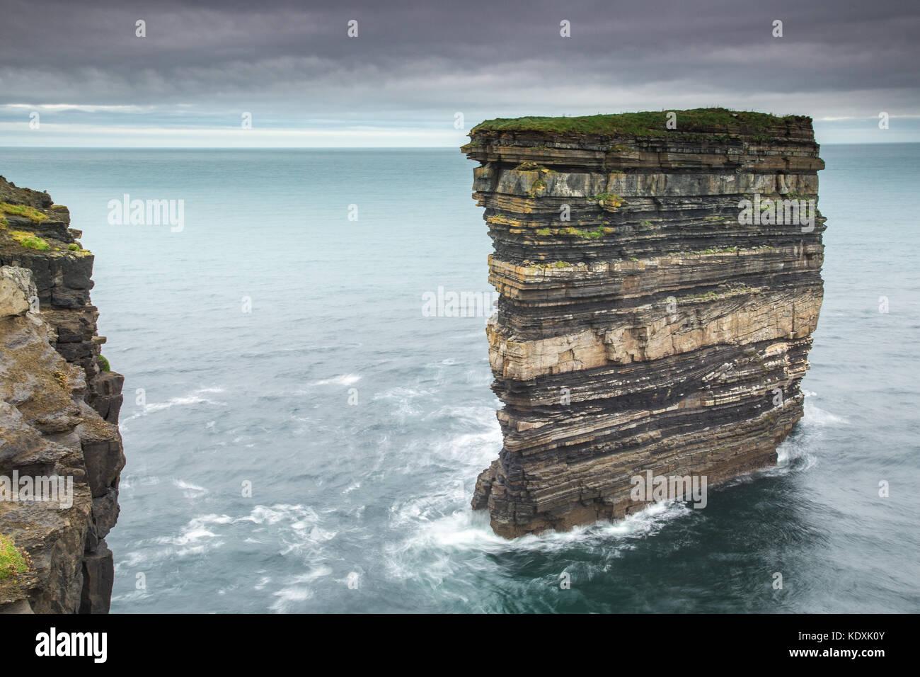 Dun Briste Sea Stack at Downpatrick Head, Co.Mayo - Stock Image