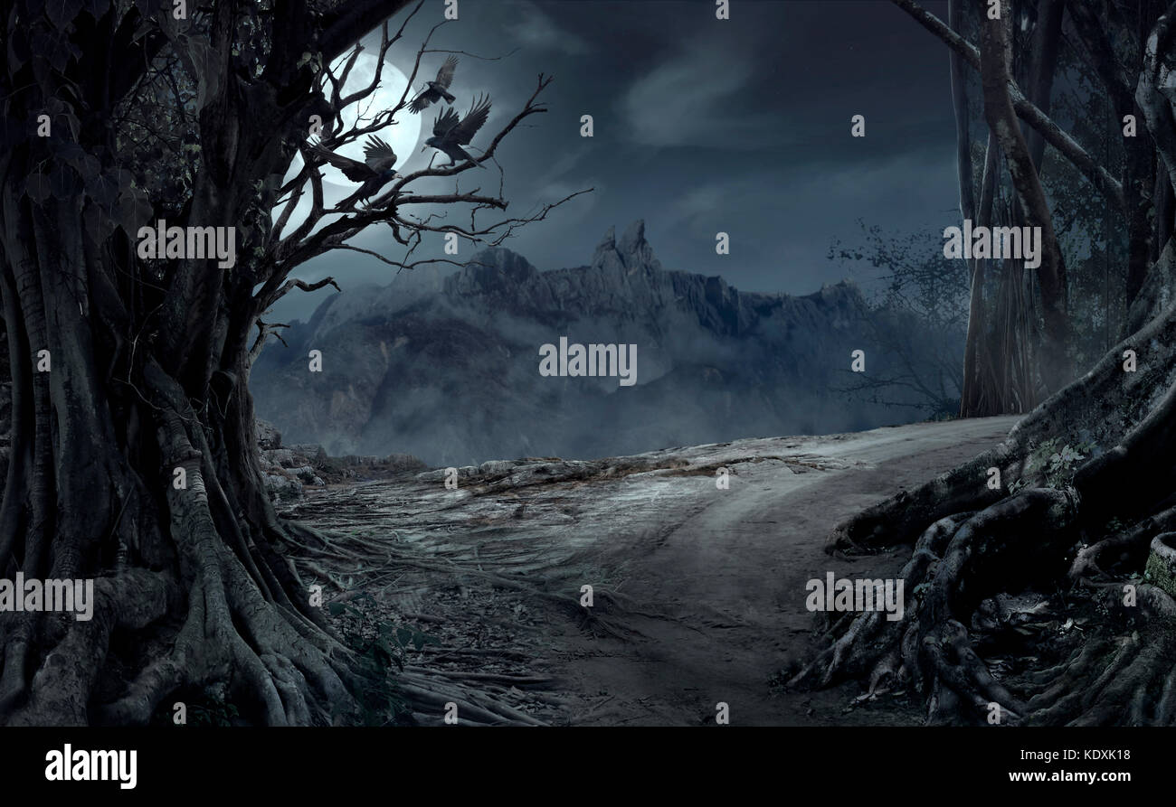 Dead cliff road on the dead mysterious forest with three crows on the night. Scary Halloween concept. - Stock Image