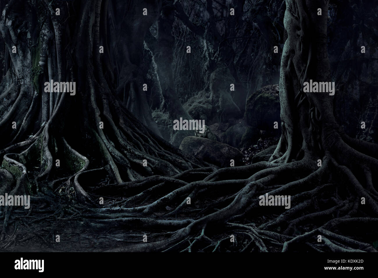 Spooky Halloween dead mysterious forest creepy trees with twisted roots and two lizard on misty night forest. Scary - Stock Image