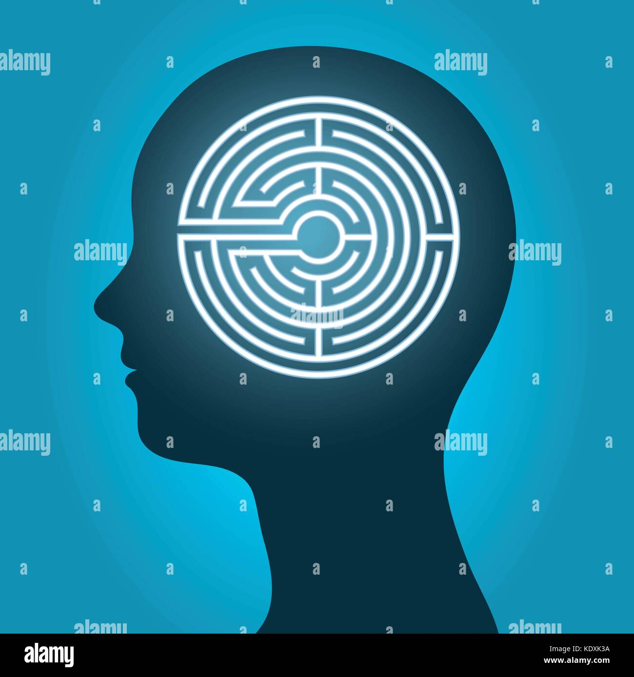 Woman head with mind maze, labyrinth depicting meditation. Vector illustration. - Stock Vector