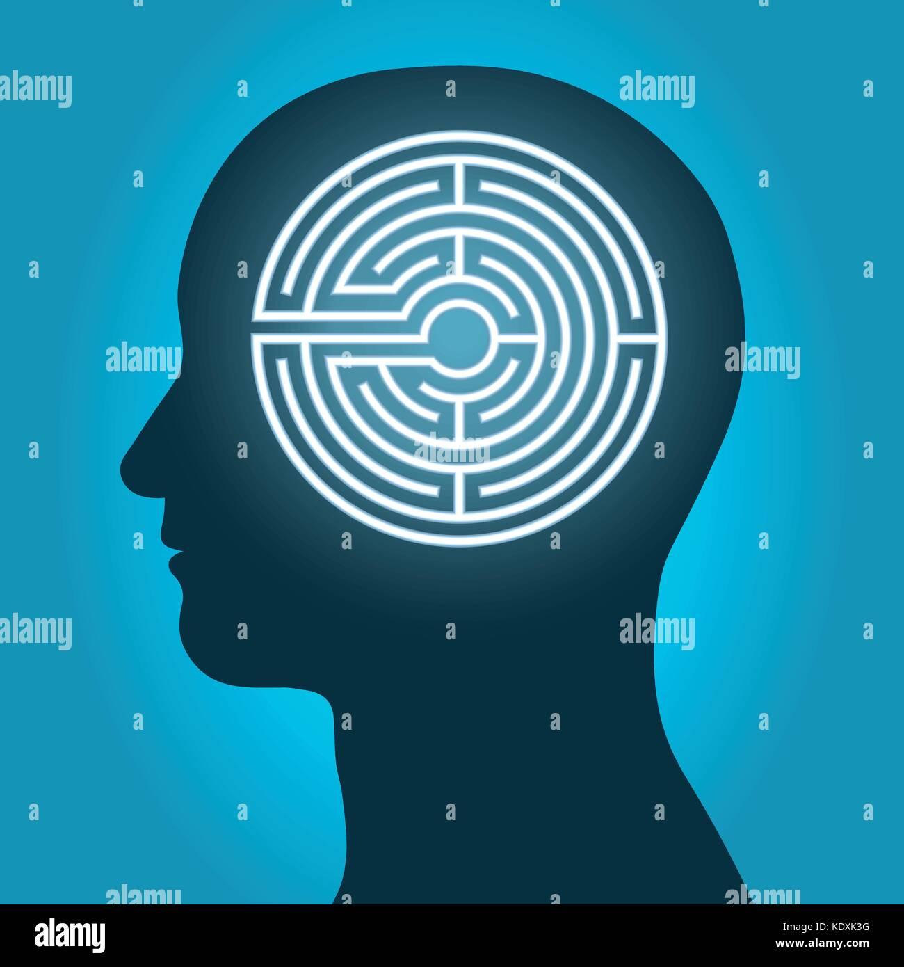 Head with mind maze, labyrinth depicting meditation. Vector illustration. - Stock Vector