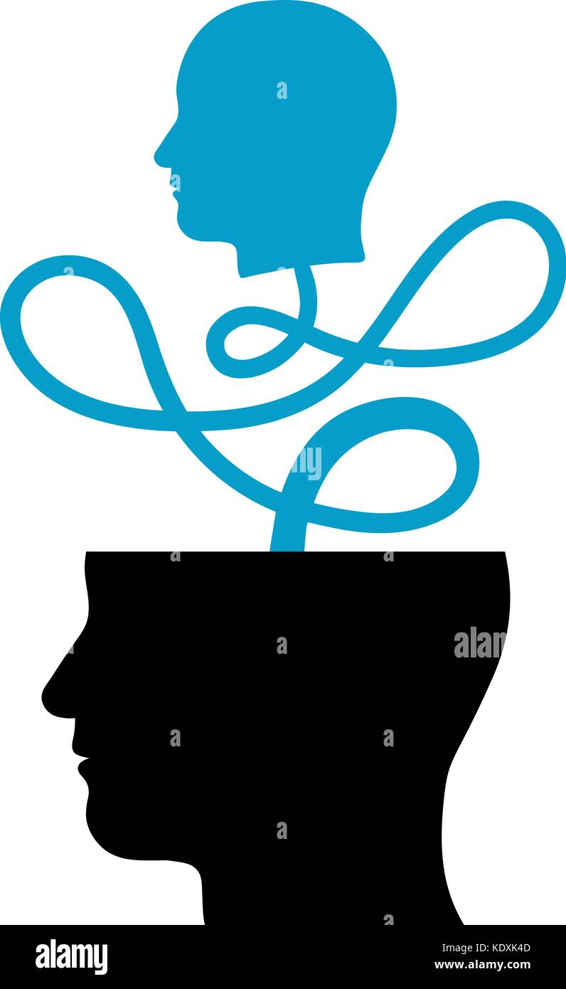 Head coming out of another head, connected maze, depicting vision, contemplation, meditation - vector illustration - Stock Vector