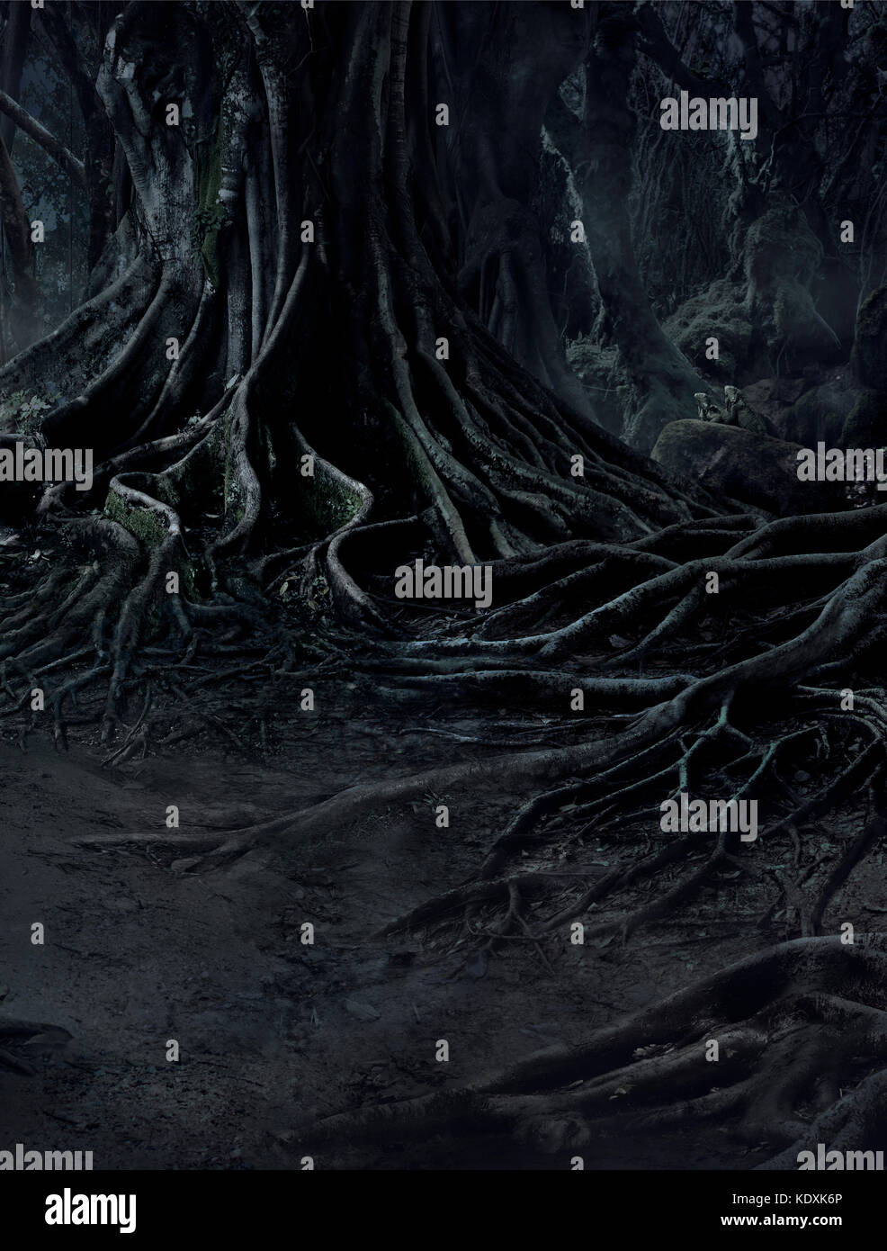 creepy trees with twisted roots and two lizard on misty night forest. Scary concept. - Stock Image