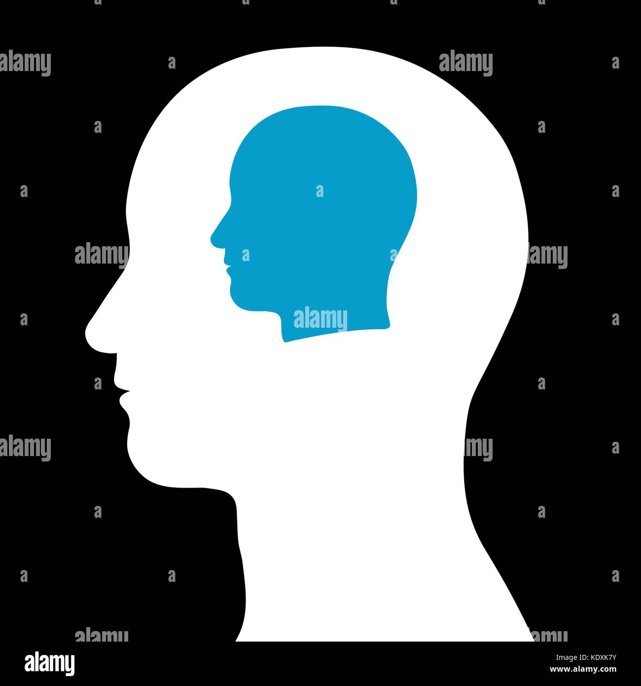 Head inside head, depicting contemplation about self, introspection - vector illustration - Stock Vector