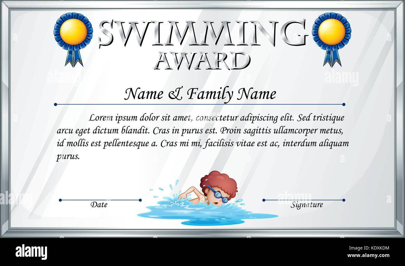 Swimming Certificate High Resolution Stock Photography and Images With Regard To Crossing The Line Certificate Template