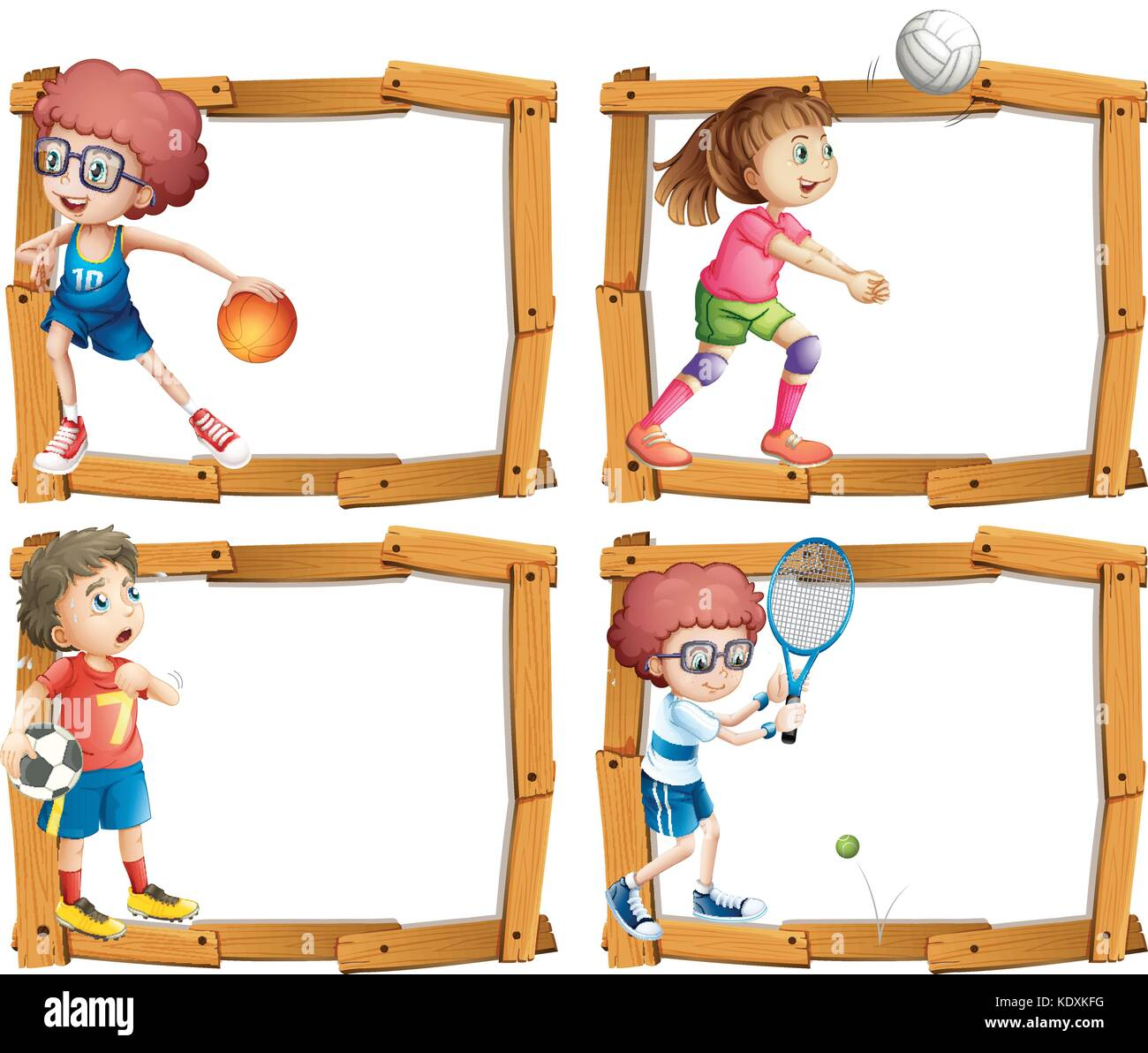Frame template with kids playing sports illustration Stock Vector ...