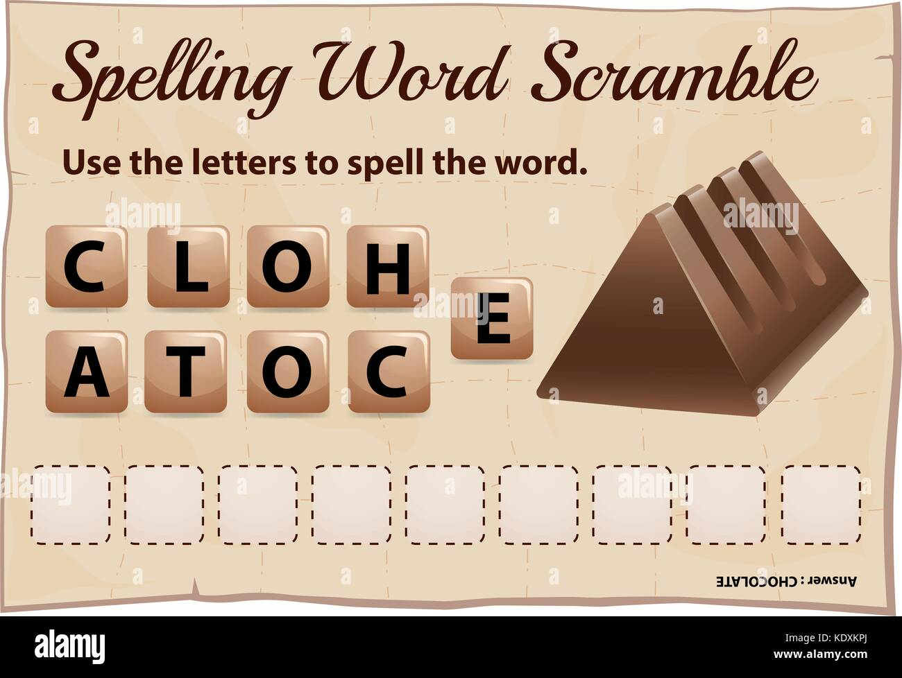 Spelling scramble game template for chocolate illustration - Stock Vector