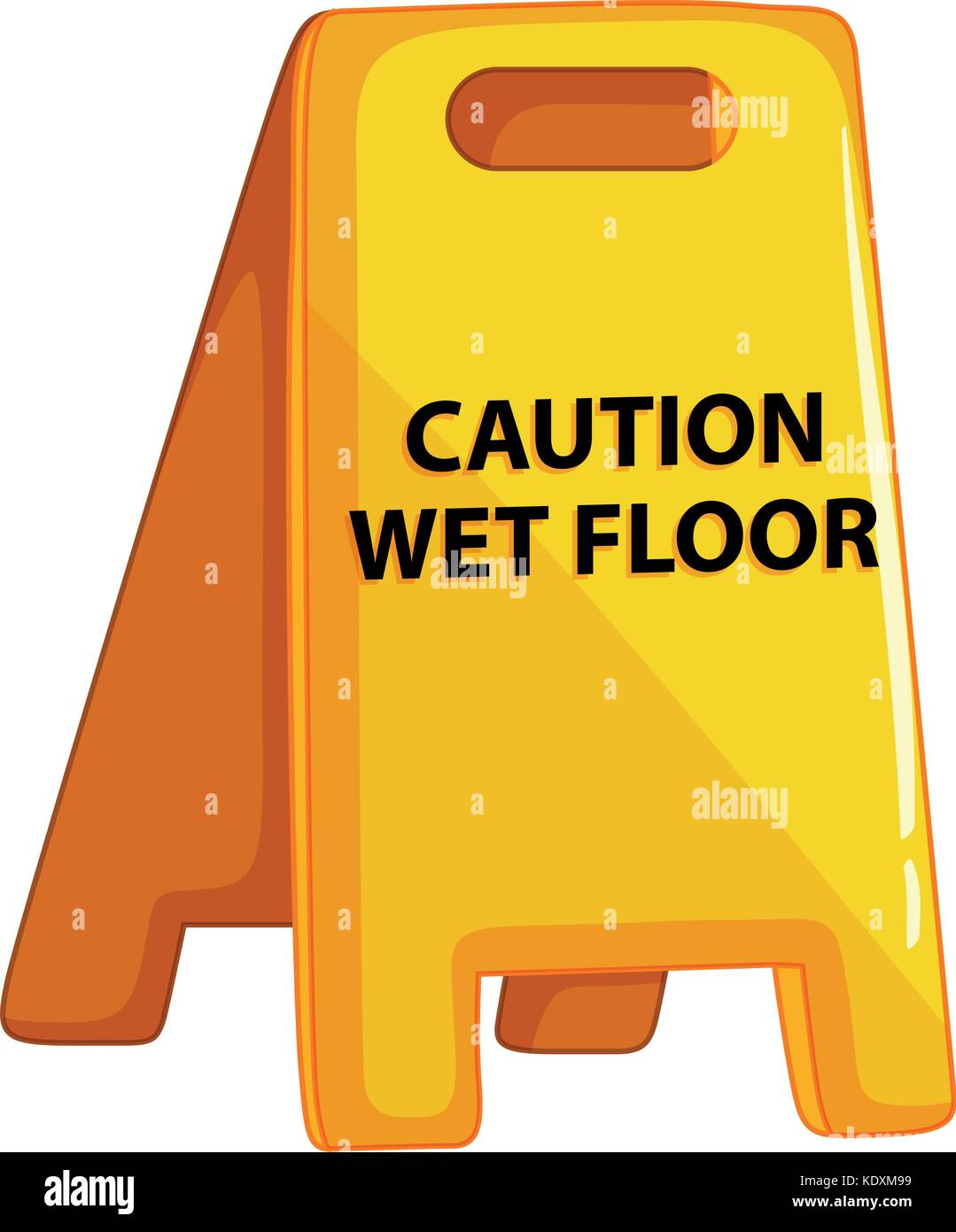 Caution wet floor sign on white background illustration - Stock Vector