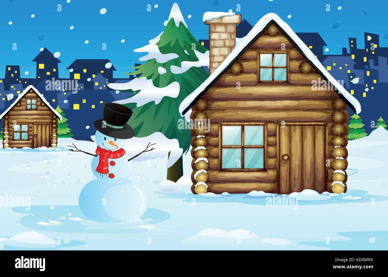 Wood cabin in the snow field illustration - Stock Vector