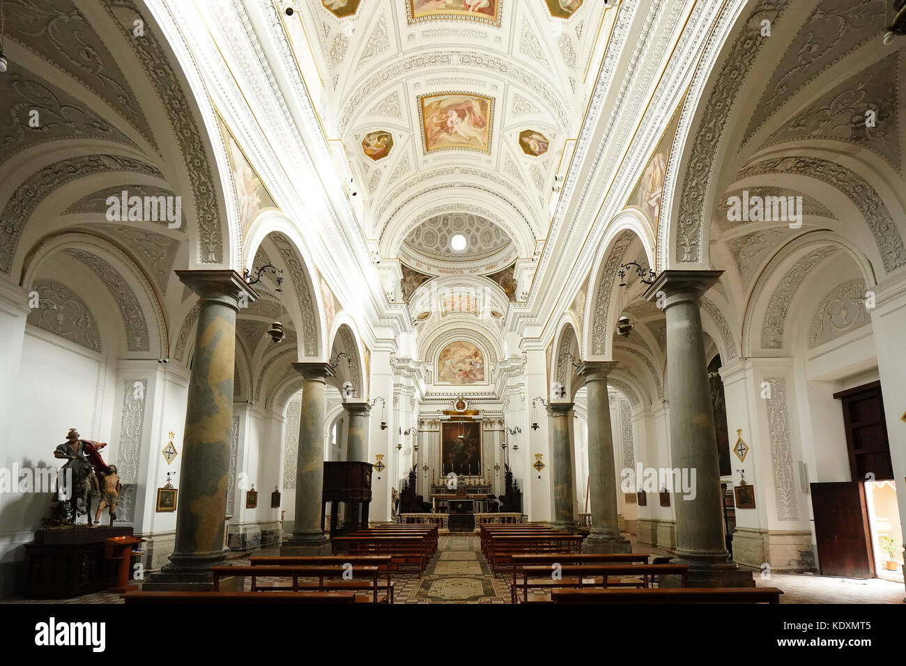 A view inside the San Martino church in the hill-top town of Erice. From a series of travel photos in Sicily, Italy. - Stock Image