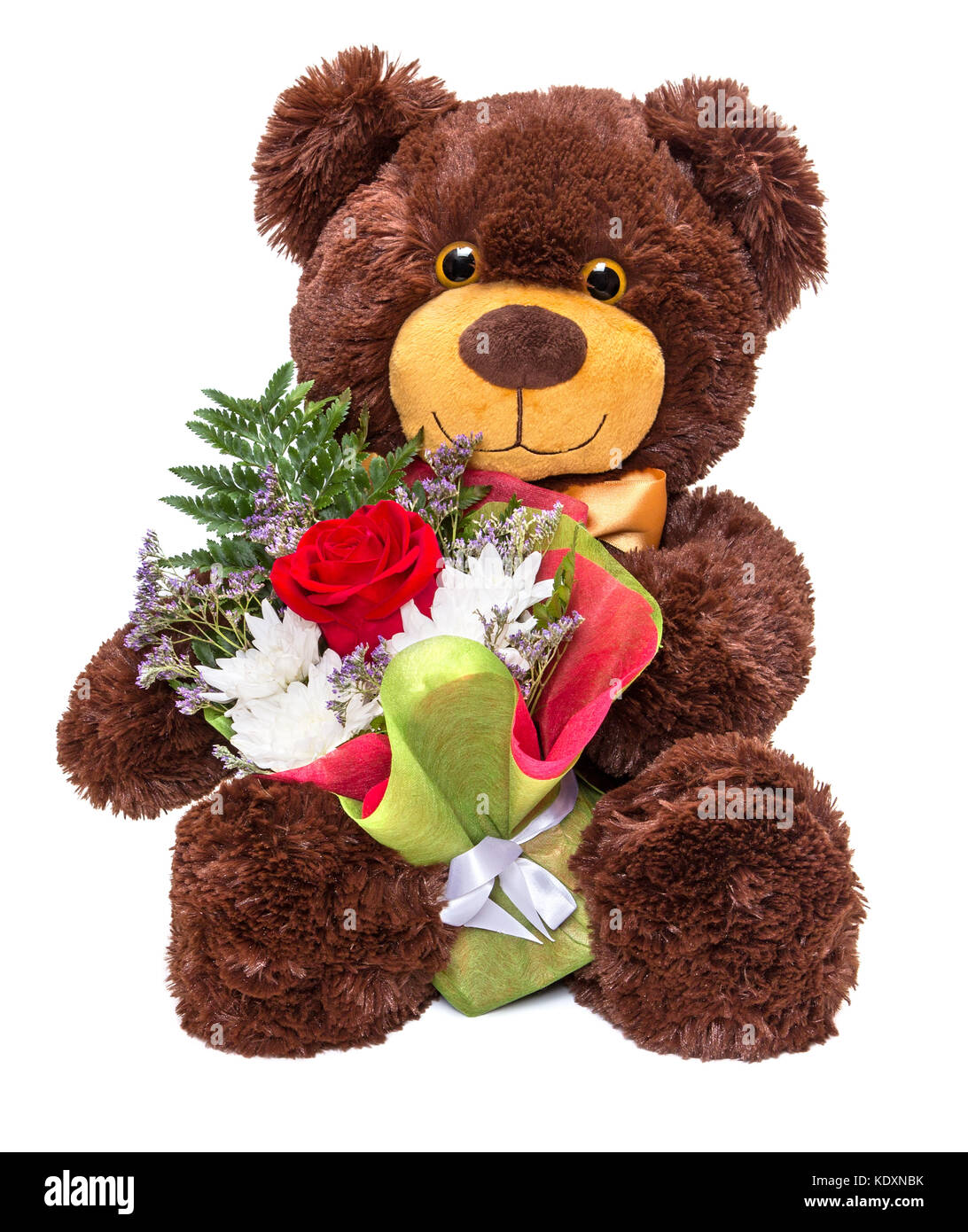 Teddy bear red rose stock photos teddy bear red rose stock images smiling teddy bear holding beautiful floral bouquet in paws on white background stock image izmirmasajfo