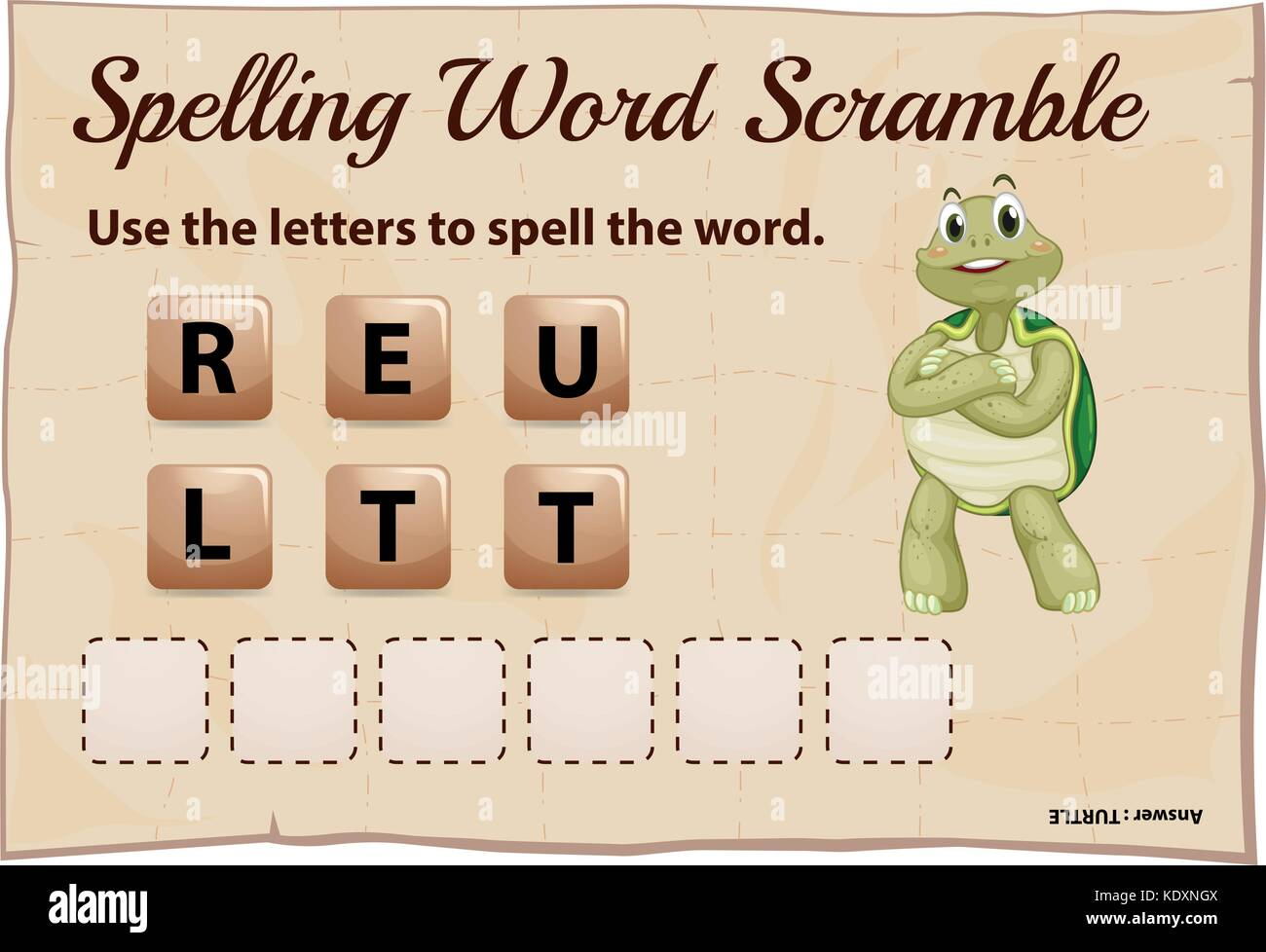 Spelling word scramble for word turtle illustration - Stock Vector