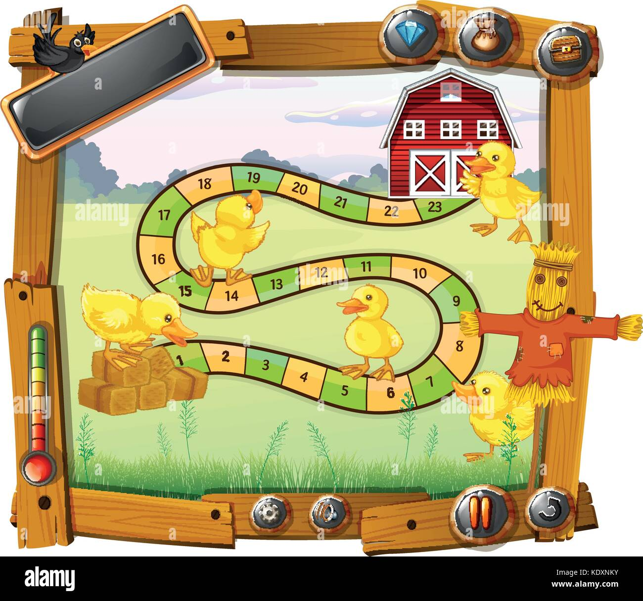 Game template with chicks and scarecrow background illustration ...