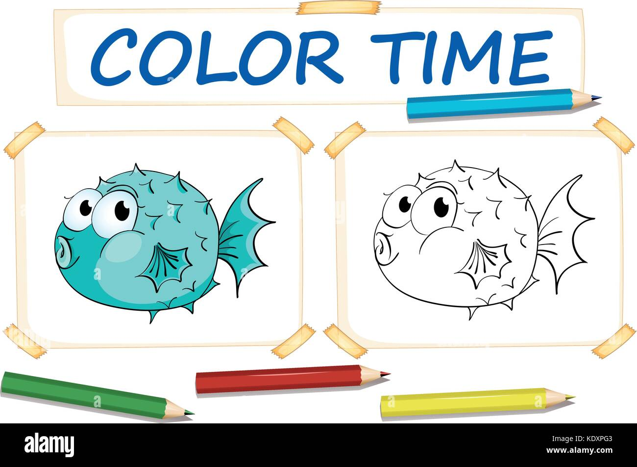 Coloring Template With Puffer Fish Illustration