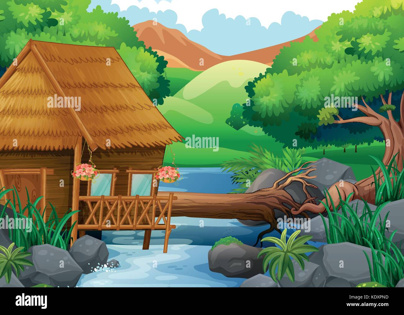 Wood cabin in the forest illustration - Stock Vector