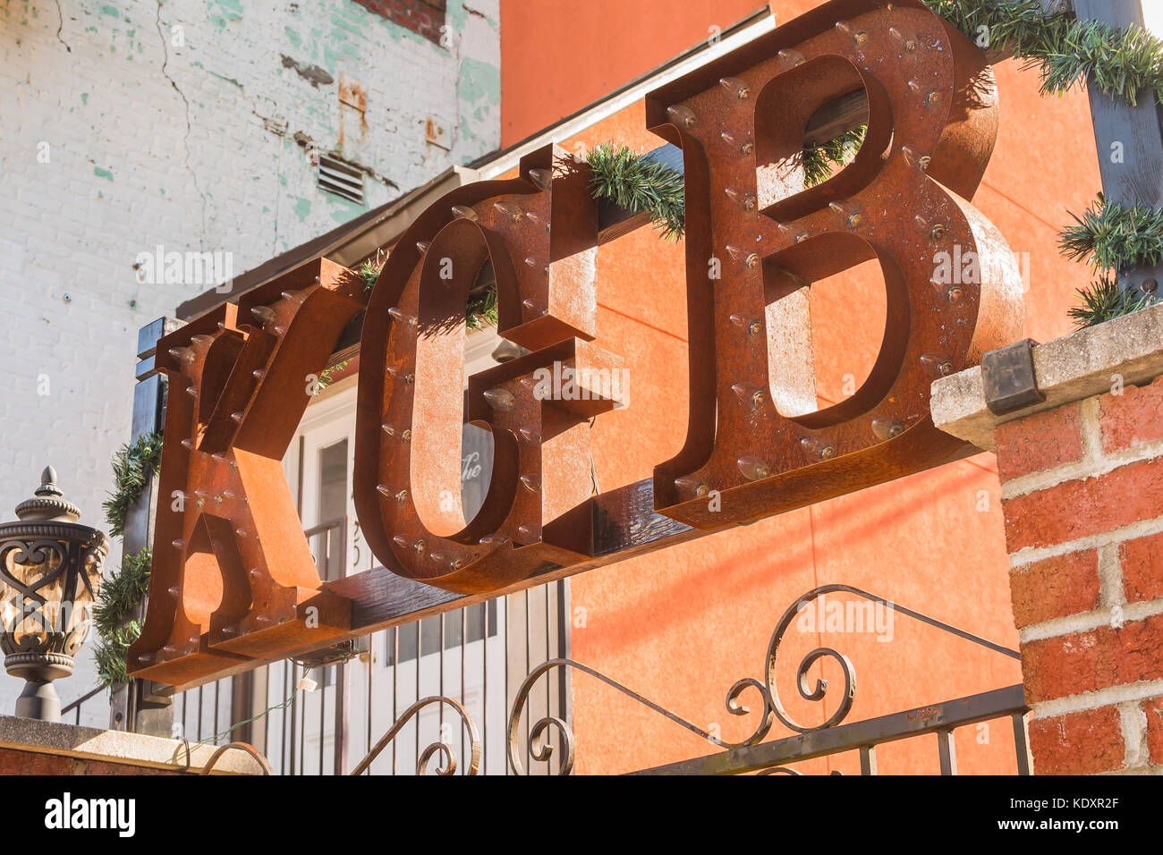 Entry way to KGB lounge - Stock Image