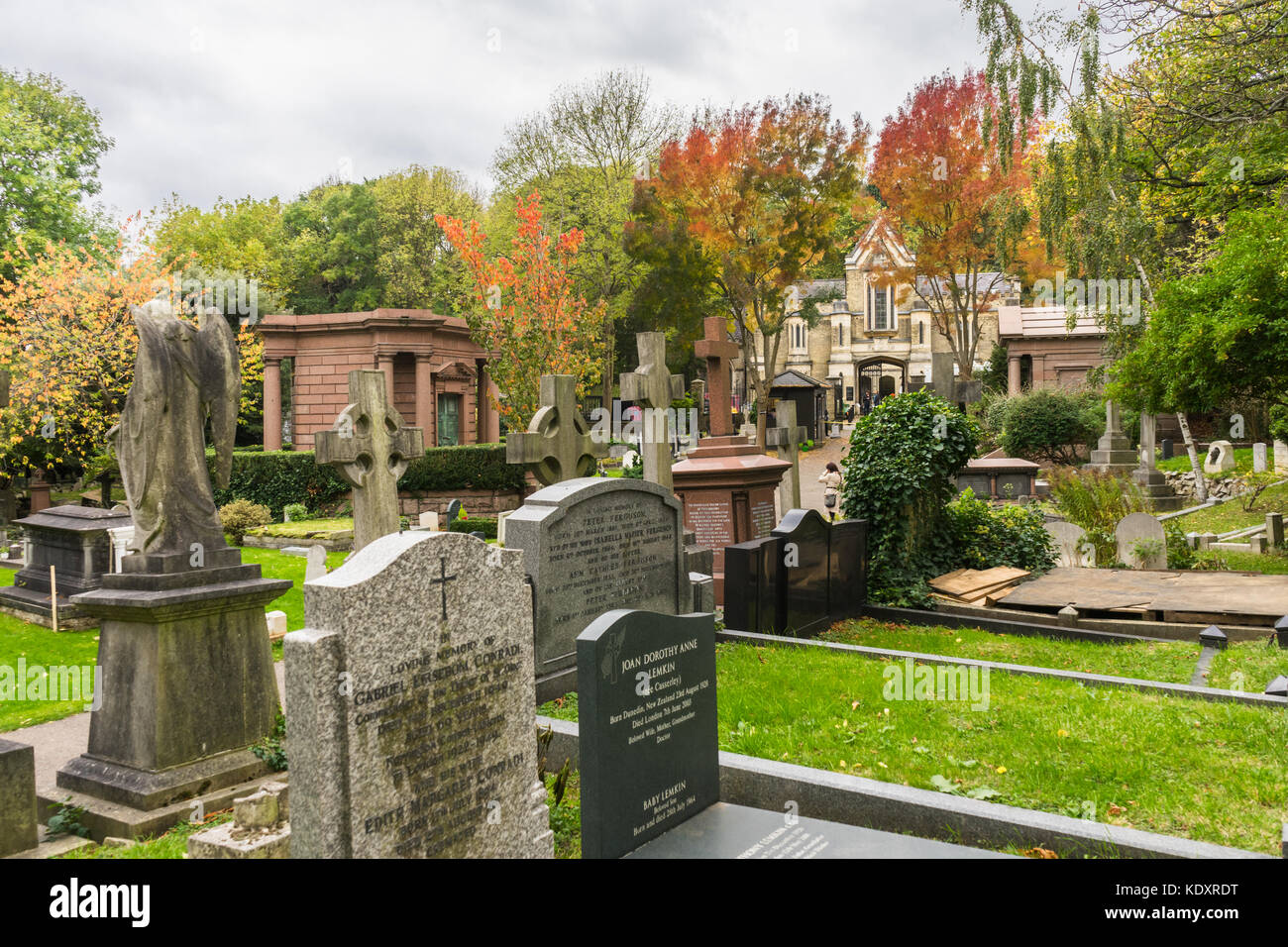View over Highgate Cemetery East during autumn, North London, UK Stock Photo